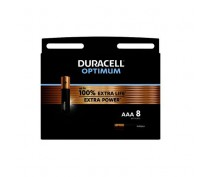 8 PIECES DURACELL OPTIMUM ALKALINE AAA, LR03