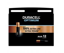 12 PIECES DURACELL OPTIMUM ALKALINE AAA, LR03