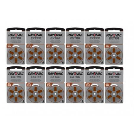 POWERDEAL 72 PCS RAYOVAC EXTRA 312, PR41 HEARINGAID BATTERIES